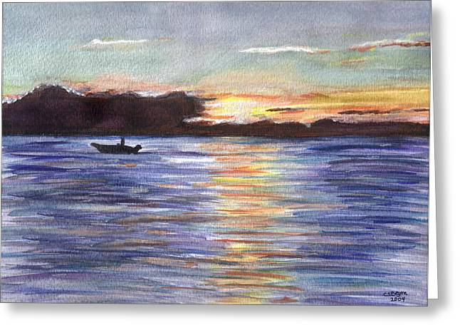 Greeting Card featuring the painting Chesapeake Dusk Boat Ride by Clara Sue Beym
