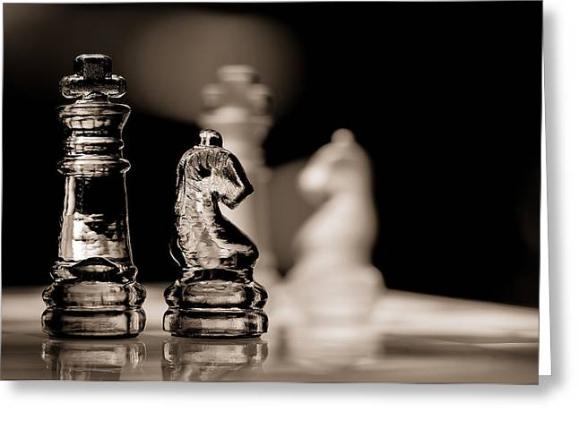 Chess King And Knight Greeting Card by Lori Coleman