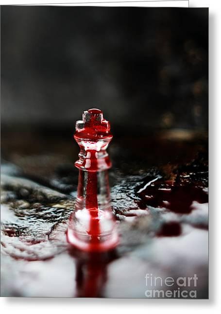 Chess Piece In Blood Greeting Card by Stephanie Frey