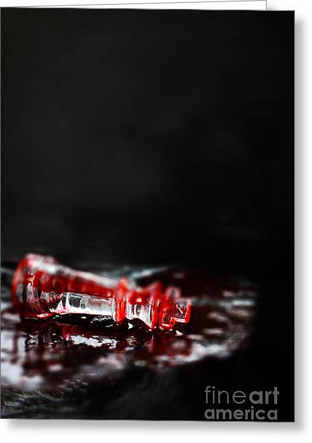 Chess Piece Lying In Blood Greeting Card by Stephanie Frey
