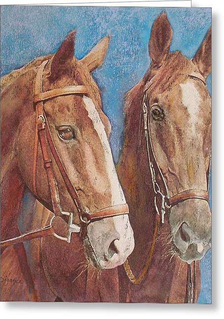 Greeting Card featuring the painting Chestnut Pals by Richard James Digance
