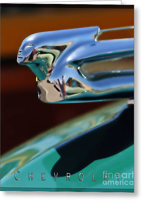 Chevrolet Hood Ornament 1 Greeting Card by Katja Zuske