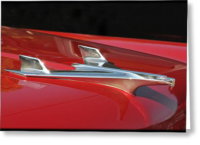 Chevy Bel Aire Hood Ornament Greeting Card by Lyle  Huisken