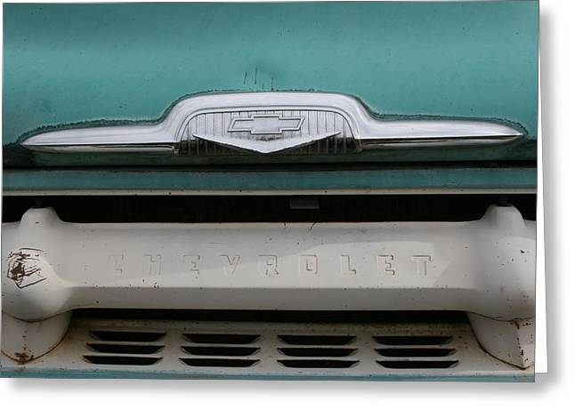Chevy Blue Greeting Card by Ken Riddle