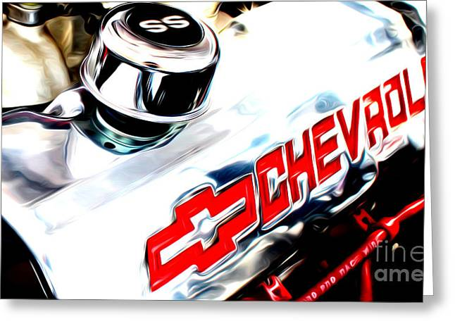 Greeting Card featuring the digital art Chevy Power by Tony Cooper