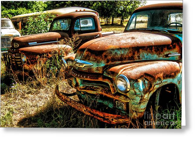 Chevy Vs. Ford Greeting Card by Joe Finney