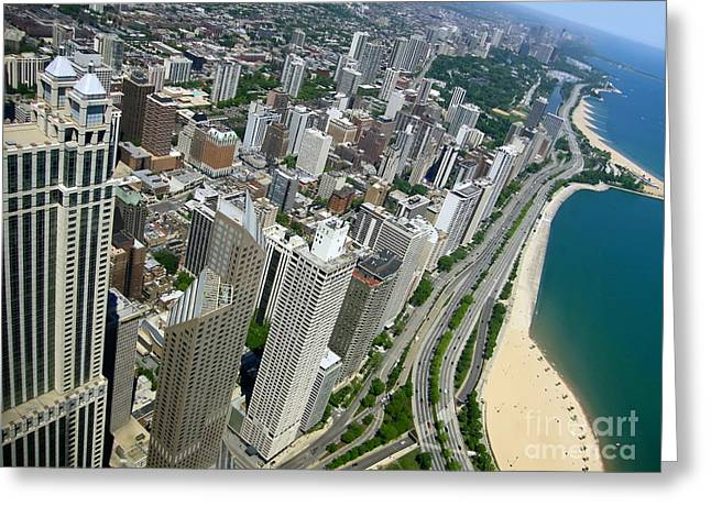 Chicago Aerial View Greeting Card by Sophie Vigneault