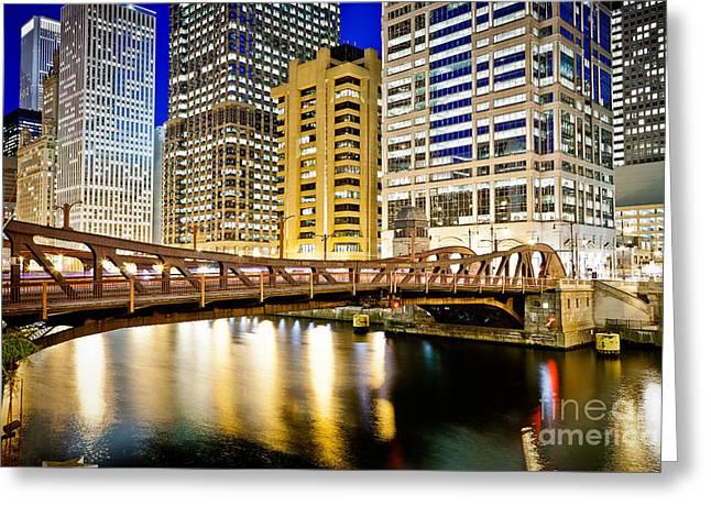 Chicago At Night At Clark Street Bridge Greeting Card by Paul Velgos