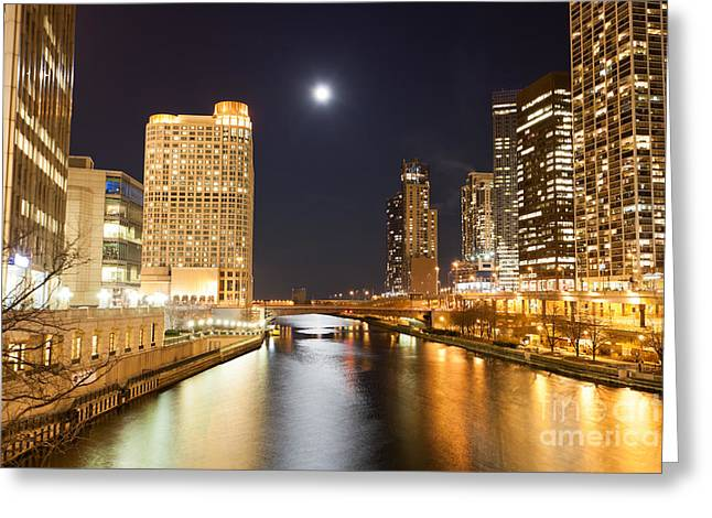 Chicago At Night At Columbus Drive Bridge Greeting Card by Paul Velgos