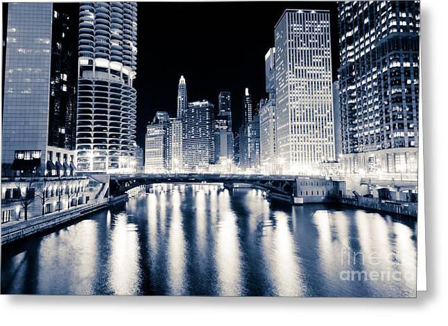Chicago At Night At Dearborn Street Bridge Greeting Card