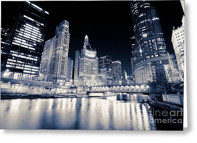 Chicago At Night At Michigan Avenue Bridge Greeting Card by Paul Velgos