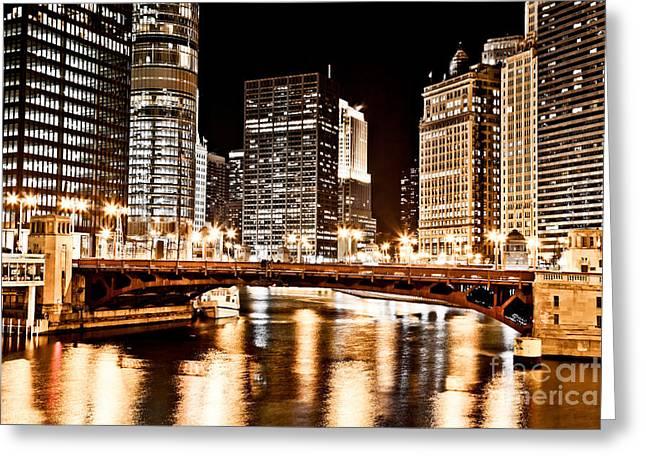 Chicago At Night At State Street Bridge Greeting Card