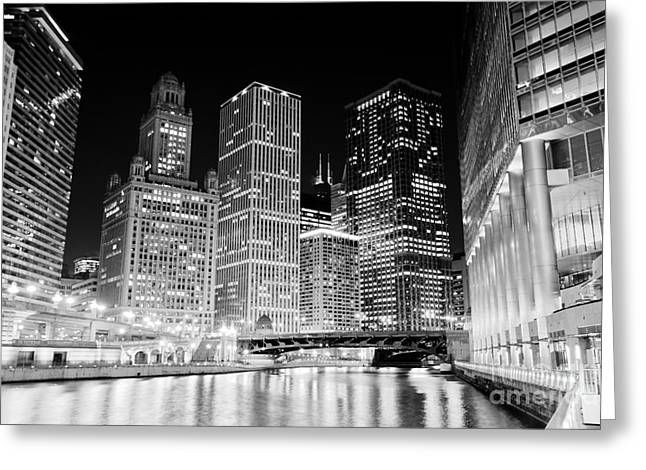 Chicago At Night Greeting Card by Paul Velgos
