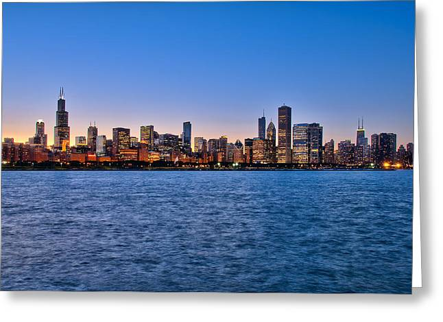 Chicago At Sunset Greeting Card