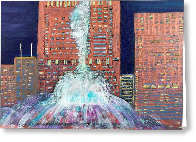Chicago Buckingham Fountain At Night Greeting Card by Char Swift