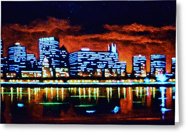 Chicago By Black Light Greeting Card