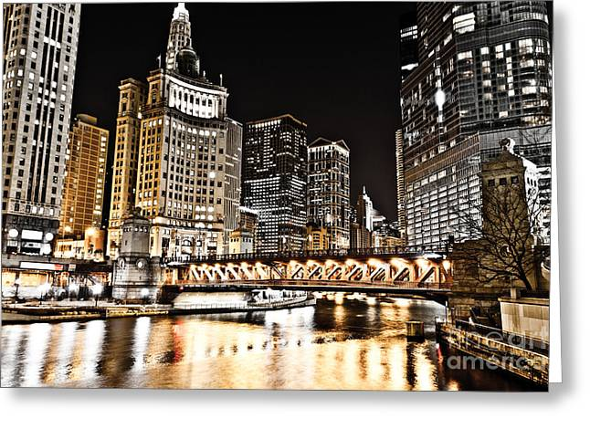 Chicago City At Night Greeting Card by Paul Velgos