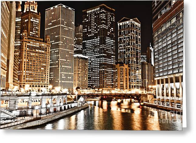 Chicago City Skyline At Night Greeting Card by Paul Velgos