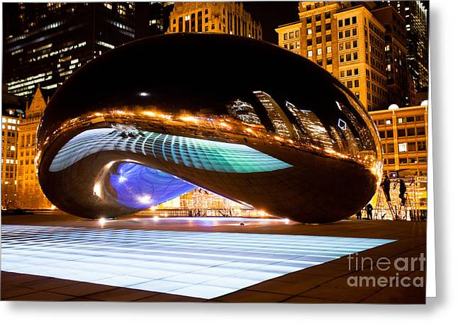 Chicago Cloud Gate Luminous Field Greeting Card by Paul Velgos