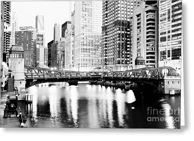 Chicago Downtown At Clark Street Bridge Greeting Card by Paul Velgos