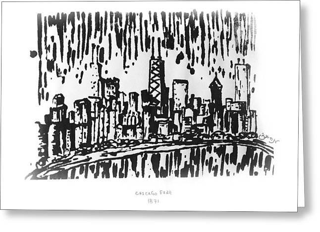 Greeting Card featuring the painting Chicago Great Fire Of 1871 Serigraph Of Skyline Buildings Sears Tower Lake Michigan Hancock Bw by M Zimmerman