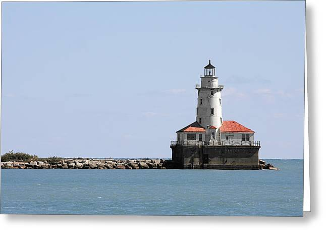 Chicago Harbor Light Greeting Card by Christine Till