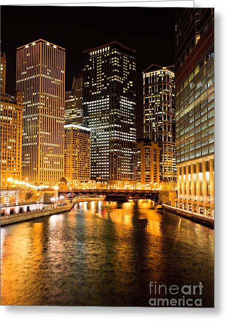 Chicago Illinois At Night Greeting Card by Paul Velgos