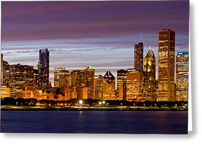 Chicago Illinois Skyline At Dusk Greeting Card by Twenty Two North Photography
