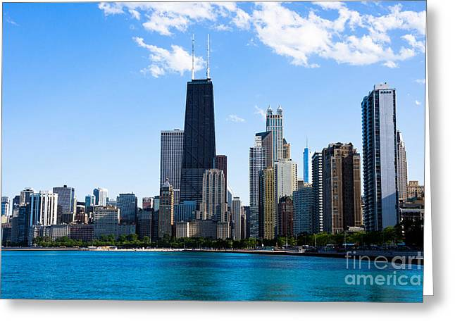 Chicago Lakefront With John Hancock Building Greeting Card by Paul Velgos