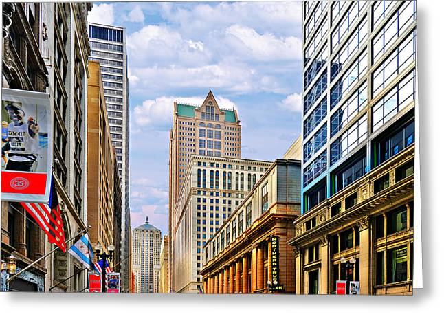 Chicago - Looking South From Lasalle Street Greeting Card by Christine Till