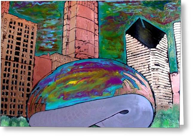 Chicago Metallic Sunset Over The Bean Greeting Card