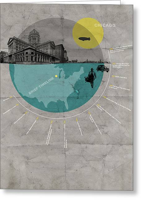 Chicago Poster Greeting Card by Naxart Studio