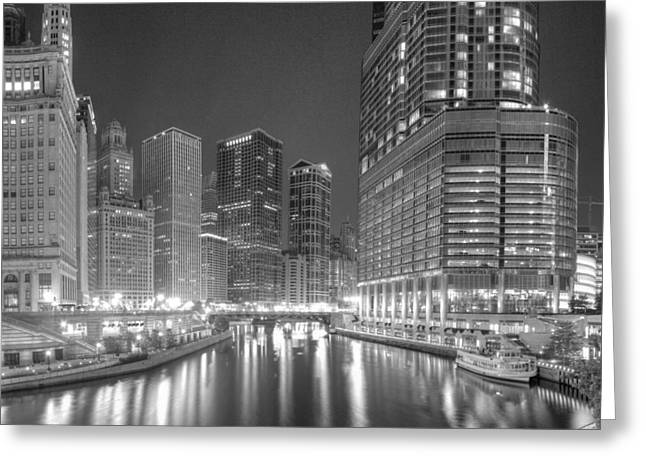 Chicago River At Night In Black And White Greeting Card by Twenty Two North Photography