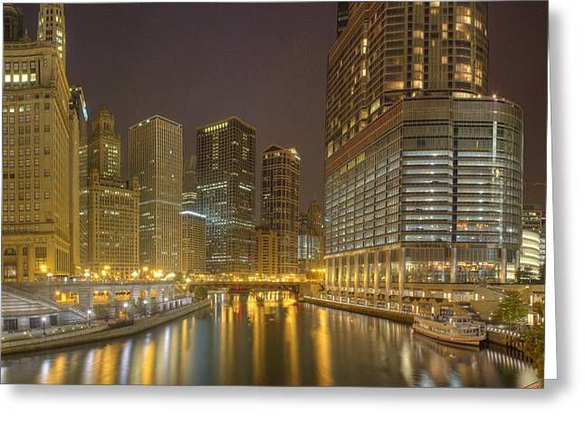 Chicago River At Night Greeting Card by Twenty Two North Photography
