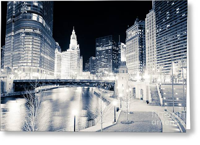 Chicago River At Wabash Avenue Bridge Greeting Card by Paul Velgos