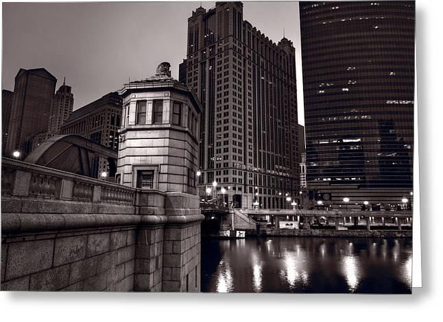 Chicago River Bridgehouse Greeting Card by Steve Gadomski