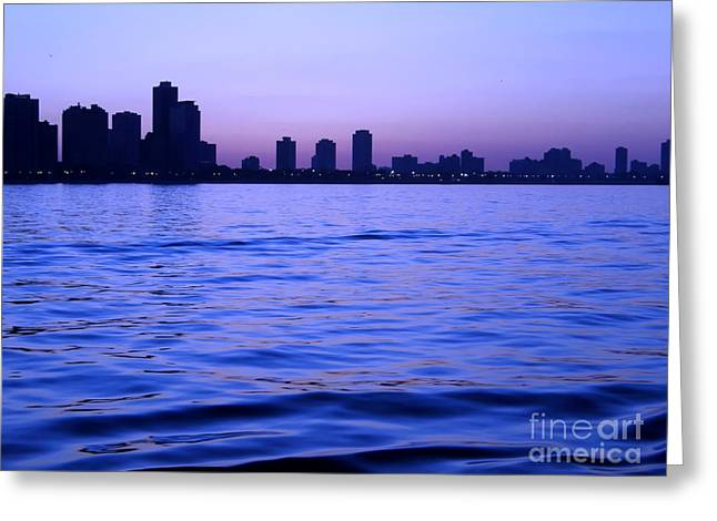 Chicago Skyline At Night Greeting Card by Sophie Vigneault