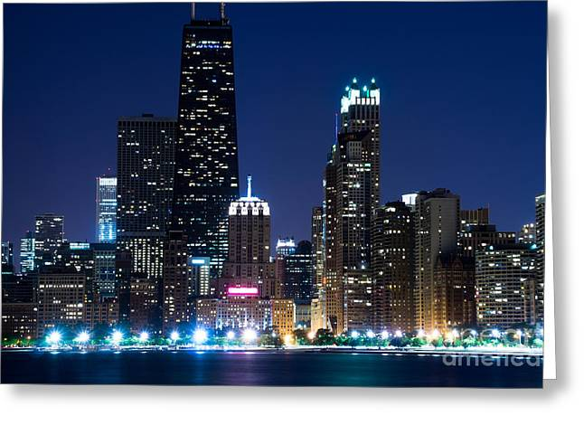 Chicago Skyline At Night With John Hancock Building Greeting Card by Paul Velgos