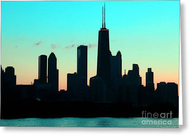 Chicago Skyline Cartoon Greeting Card by Sophie Vigneault