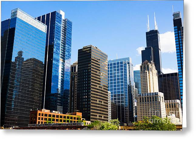 Chicago Skyline Downtown City Buildings Greeting Card by Paul Velgos