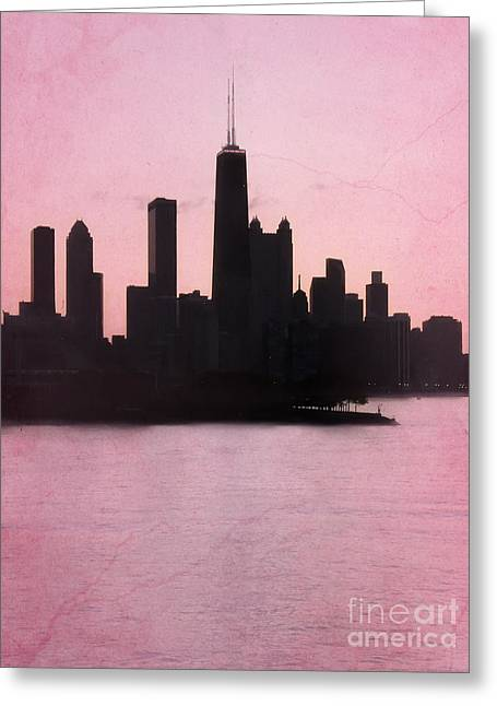 Chicago Skyline In Pink Greeting Card by Sophie Vigneault