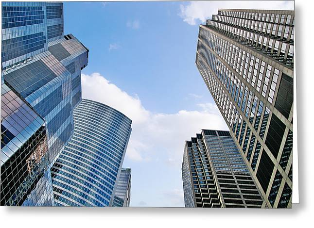 Chicago - Skyscrapers Are Looking Down On Us Greeting Card by Christine Till