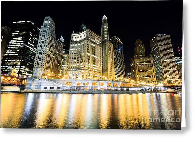 Chicago Wacker Drive Buildings At Night Greeting Card by Paul Velgos