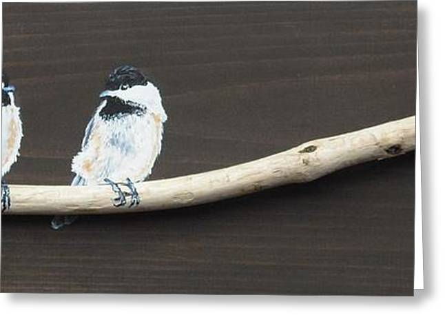 Chickadee Chatter Greeting Card by Jana Caissie