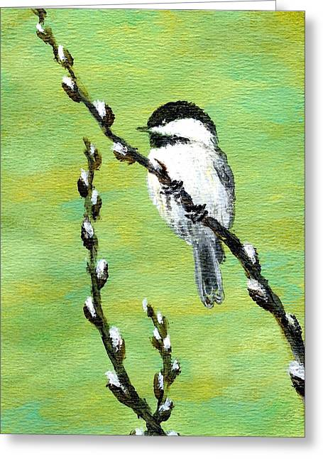 Chickadee On Pussy Willow - Bird 2 Greeting Card by Kathleen McDermott