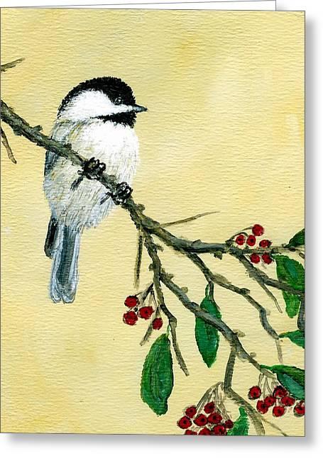 Chickadee Set 4 - Bird 1 - Red Berries Greeting Card by Kathleen McDermott