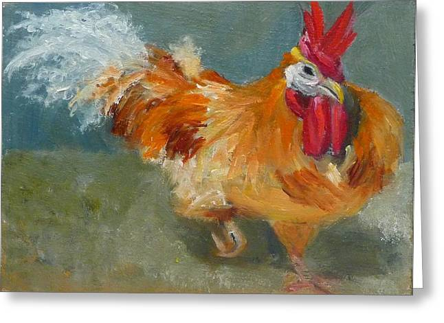 Chicken On The Run Greeting Card by Jessmyne Stephenson