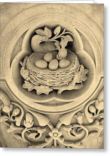 Chicks In Stone In Sepia Greeting Card by Rob Hans