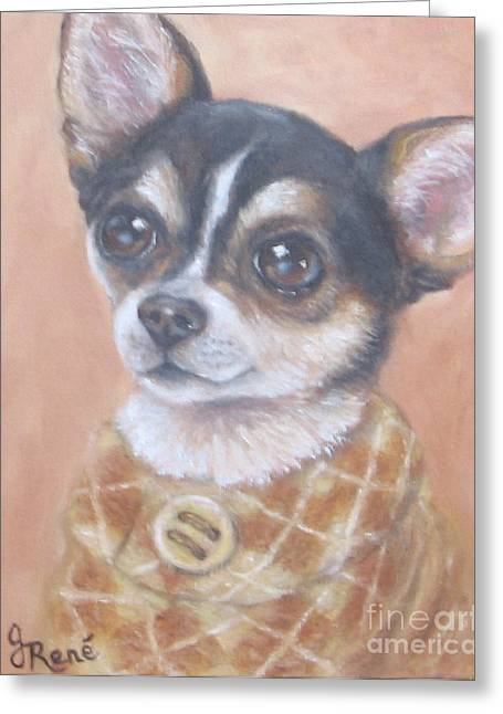 Chihuahua In An Argyle Sweater Greeting Card by Gayle Rene