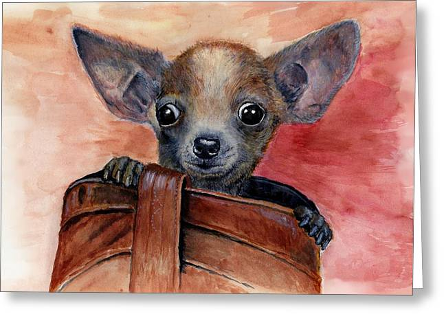 Chihuahua Puppy Greeting Card by Katerina A Cechova